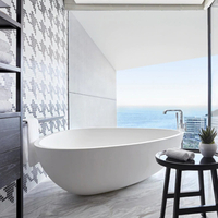 Spacious Triangle Solid Surface Freestanding Bathtub