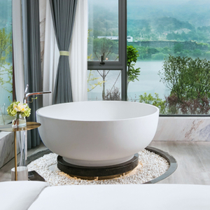 Cozy Round Solid Surface Freestanding Bathtub