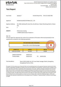 Fungus resistance test report