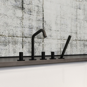 5 Hole Matte Black Bathtub Faucet with Pull-out Handset