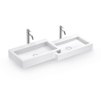 Double Wall-hung Basin for Commercial Use