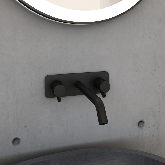 Matte Black Unique Wall-mount Basin Mixer