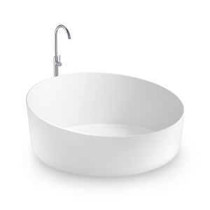 Round Solid Surface Freestanding Bathtub
